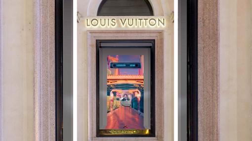 Una de las proyecciones del escaparate de Londres de louis Vuitton