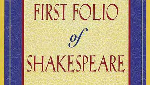 "Portada del ""First Folio"" de William Shakespeare"