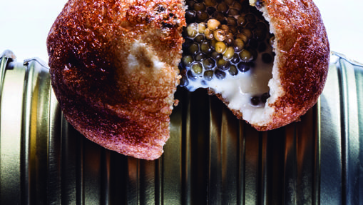 Pan chino relleno de caviar beluga