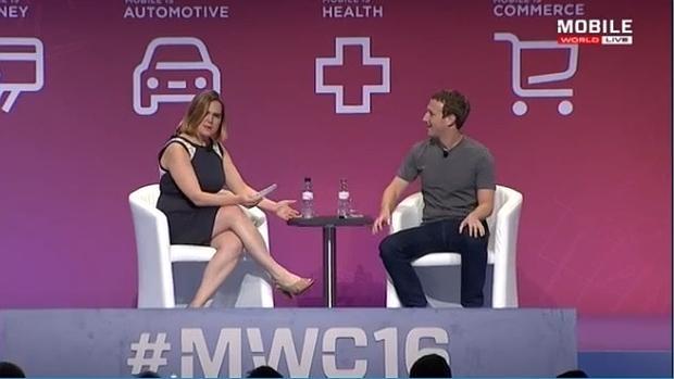 Mark Zuckerberg, durante su intervención en el Mobile World Congress en la presentación de Samsung