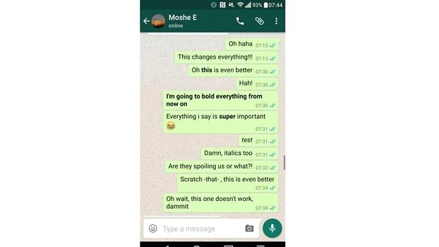 WhatsApp prepara una actualización para permitir negritas y cursivas en los textos