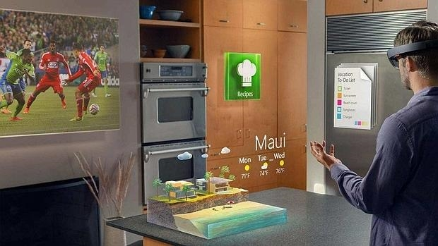 Detail of HoloLens, augmented reality device of the American firm