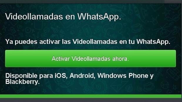 Captura del timo de las videollamadas de WhatsApp