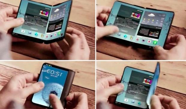 Detalle de una pantalla enrollable fabricada por Samsung