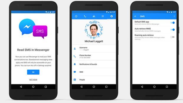 Facebook Messenger recupera los SMS en Android