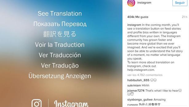 Instagram incorporará también un traductor