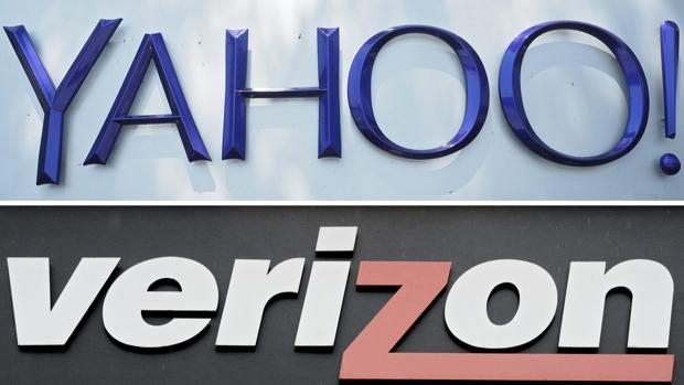 Combo fotográfico que muestra los logotipos de Yahoo y Verizon