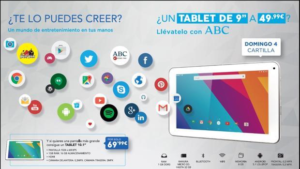 """Llévate con ABC un tablet de 9"""" por solo 49,99 euros"""