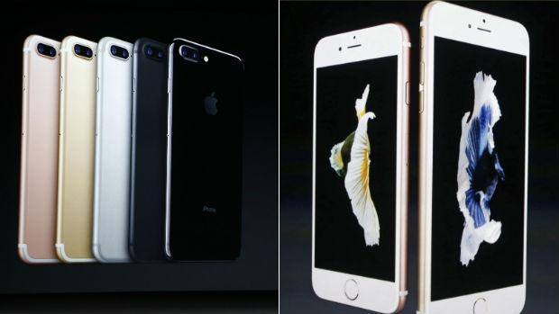 iPhones 7, a la izquierda, y iPhones 6S, a la derecha