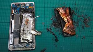 Detalle del estado en que quedó un Note 7 que se incendió