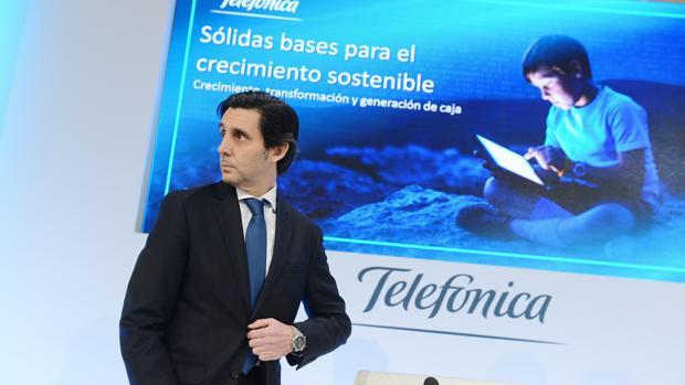José María Álvarez-Pallete, durante la presentación de Telefónica