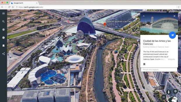 Detalle del nuevo diseño de Google Earth