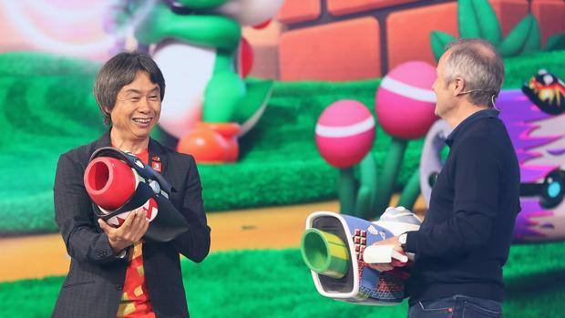 El director creativo Shigeru Miyamoto y el consejero delegado de Ubisoft Yves Guillemot