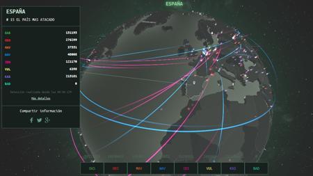 Mapa en tiempo real del ciberataque