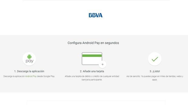 Captura de pantalla de Android Pay en web