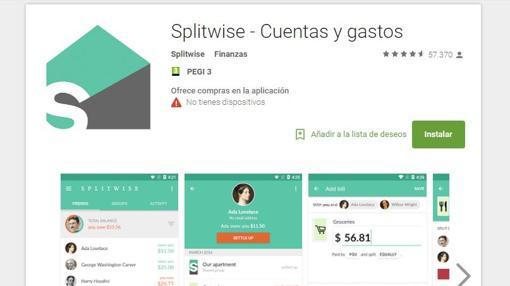Captura de pantalla de Splitwise
