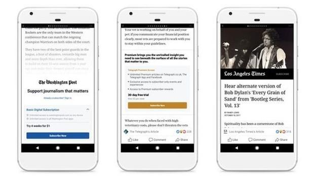 Facebook probará un sistema de suscripciones para periódicos