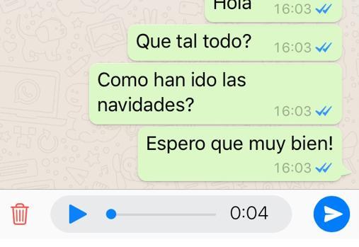 WhatsApp da la opción de escuchar o borrar el mensaje de audio antes de enviarlo