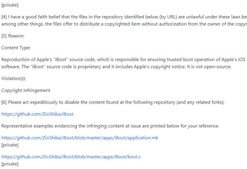 Captura de pantalla del mensaje publicado en GitHub