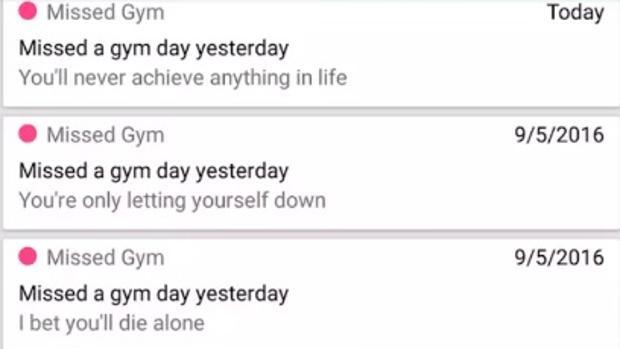 Los mensajes que dedica la aplicación si no vas al gimnasio