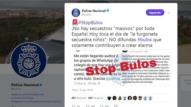 La Policía Nacional ha denunciado la «plaga» de bulos sobre secuestros por toda España