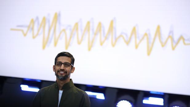 Sundar Pichai, director general de Google, durante su conferencia