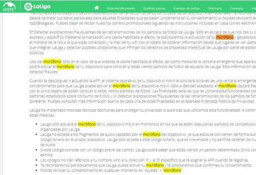 Captura de los términos de uso del servicio