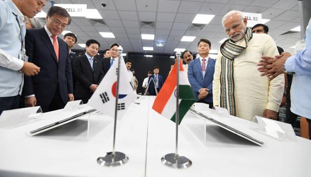 El primer ministro indio Narendra Modi y el presidente de Corea del Sur Moon Jae-in