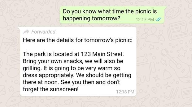 Así se verán los mensajes reenviados de WhatsApp