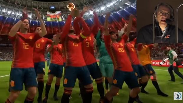 Lama y González graban su voz mientras ven fragmentos del videojuego