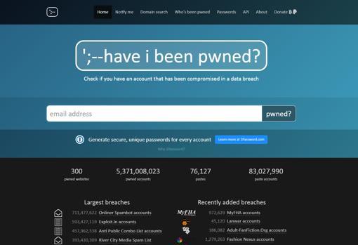 Página de inicio de haveibeenpwned.com