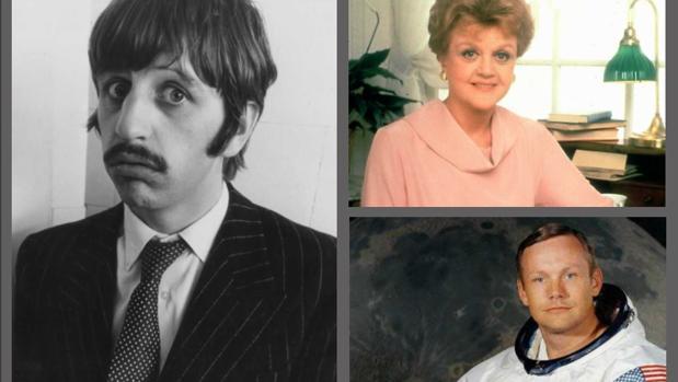 A la izquierda, Ringo Star; en la imagen derecha superior, Angela Lansbury; y, en la inferior, Neil Armstrong
