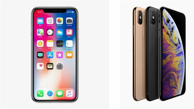 A la izquierda, el iPhone X; a la derecha, los nuevos iPhone XS