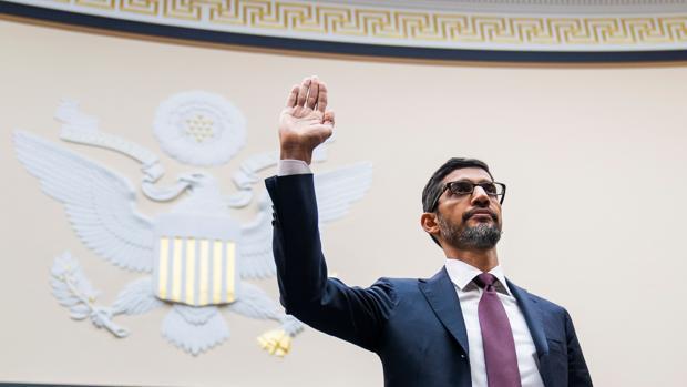 El consejero delegado de Google, Sundar Pichai, durante su comparecencia