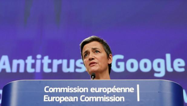 Margrethe Vestager, comisaria de Competencia, durante la rueda de prensa