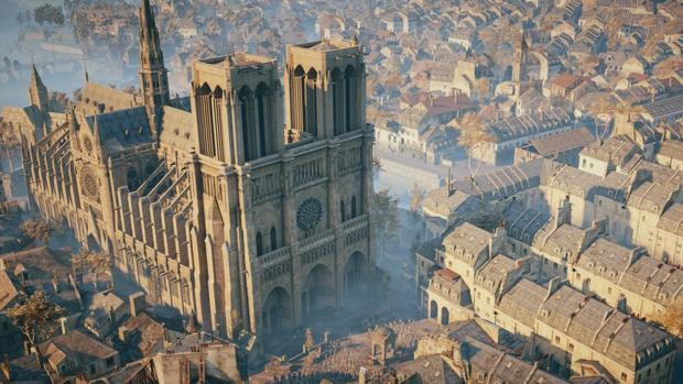 Detalle de Notre Dame en el videojuego Assassins Creed Unity