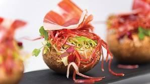 Jamón ibérico con champiñón portobello