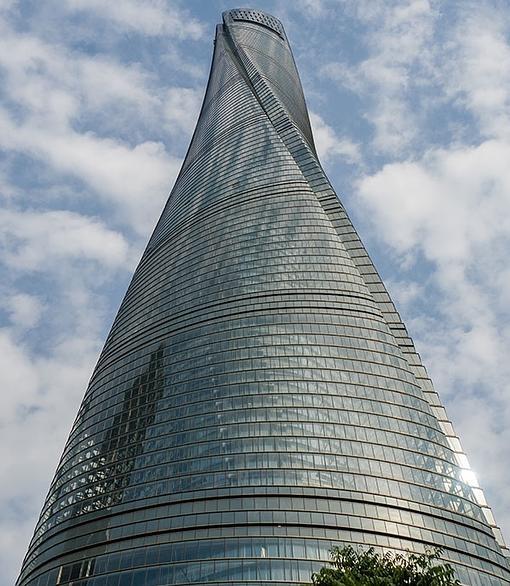 La forma de espiral de la Shanghai Tower
