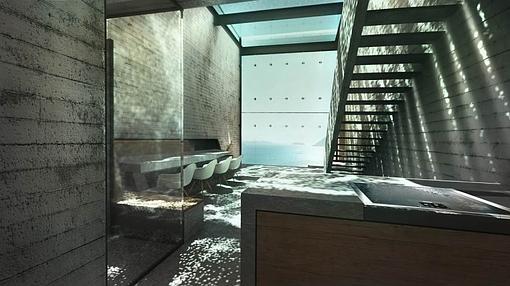 Una escalera interior de finos escalones de acero permiten la continuidad  óptica desde la cocina hasta la fachada de vidrio. af6f7a98d1b