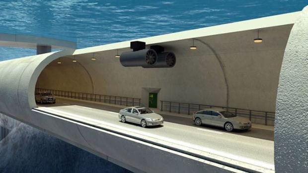 Los túneles estarían suspendidos a 30 metros bajo el agua