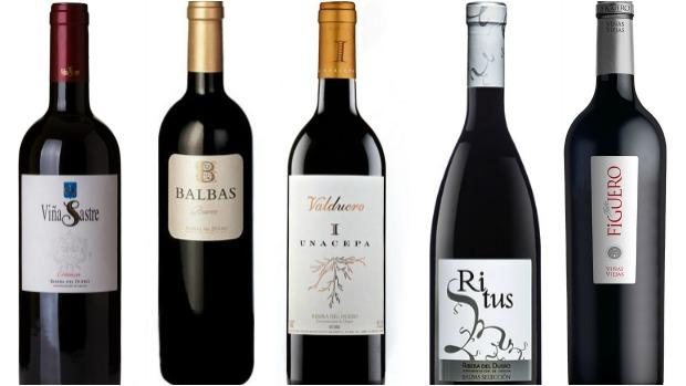 De izquierda a derecha, Viña Sastre, Balbas Reserva, Valduero I Cepa, Ritus y Figuero Viñas Viejas