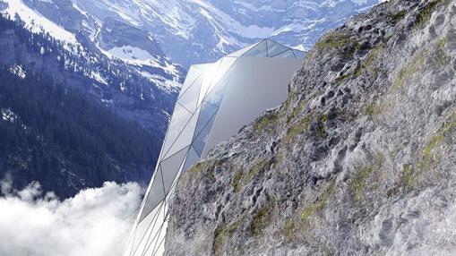 El hotel de cristal «atrapado» en la montaña
