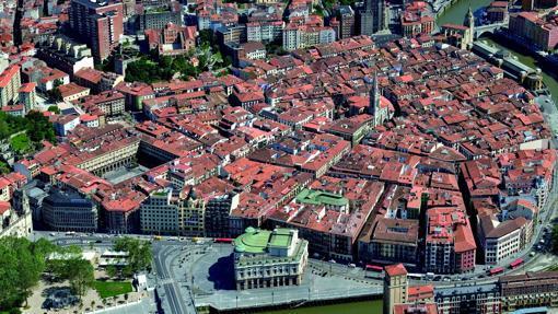 Vista aérea del Casco Viejo de Bilbao
