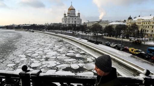 El río Moskva helado, el 16 de enero de 2017