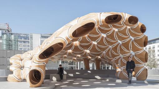 Detalle del Pabellón construido en la Universidad de Stuttgart