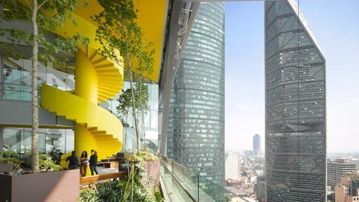 Uno de los «Jardines del cielo» del BBVA Bancomer, en Ciudad de México
