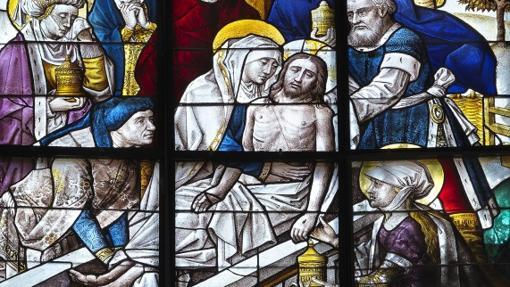 Detalle de una de las vidrieras de la Cartuja de Miraflores