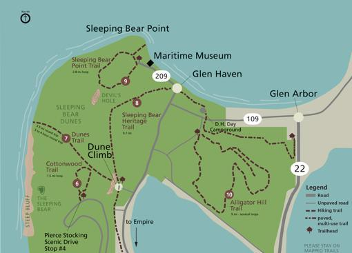Mapa de localización de los senderos y las dunas del lago Michigan