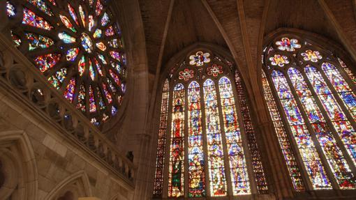 Algunas de las vidrieras de la catedral de León