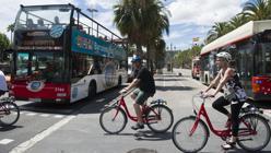 Cicloturistas en Barcelona
